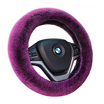 Auto-living Faux Wool Fluffy Steering Wheel Cover
