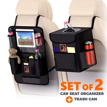 Confachi Backseat Organizer and Car Trash Can Bundle