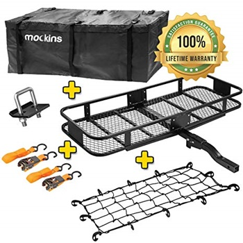 Mockins Hitch Mount Cargo Carrier with Cargo Bag and Net
