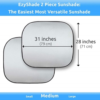 EzyShade Windshield Sun Shade + Bonus Item, Medium