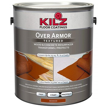 KILZ Over Armor Textured Wood-Concrete Coating, 1 gallon, Redwood