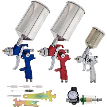 TCP Global Complete Professional 9 Piece HVLP Spray Gun Set